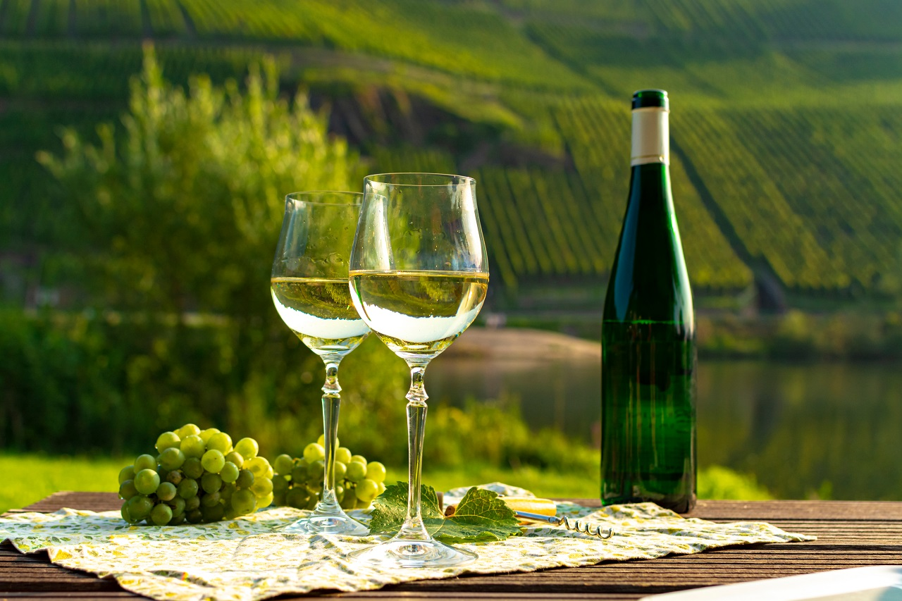 Famous-German-quality-white-wine-riesling-produced-in-Mosel-wine-regio-from-white-grapes-growing-on-slopes-of-hills-in-Mosel-river-valley-in-Germany