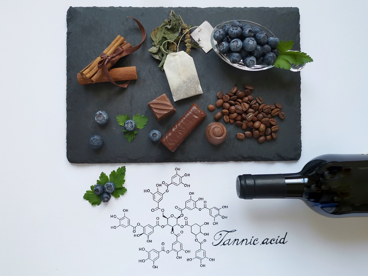 Structural-chemical-formula-of-tannic-acid-with-foods-rich-in-tannins
